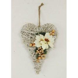 Srdce proutěné z ratanu s vánoční bílo-zlatou dekorací