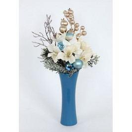 Váza modrá keramická s vánoční dekorací