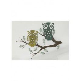 Nástěnný kovový obraz - sovy na větvi