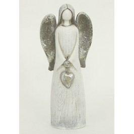 Anděl se srdcem, barva stříbrná, polyresin
