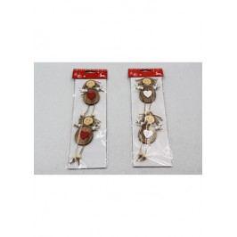 Vánoční dřevěná dekorace na zavěšení, andělka, barva červená a bílá, cena za jedno balení