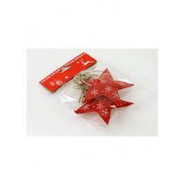 Vánoční plstěná dekorace na povešení, hvězdička, barva červená, cena za jedno balení