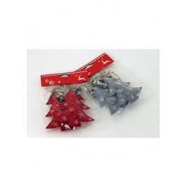 Vánoční plstěná dekorace na zavěšení, stromeček, barva červená a šedá ,cena ze jedno balení