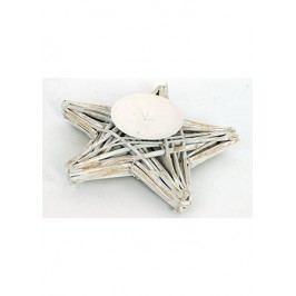 Proutěný svícen - hvězda - barva bílá