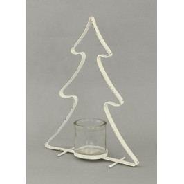 Svícen kovový na čajovou svíčku, tvar stromku, barva bílá