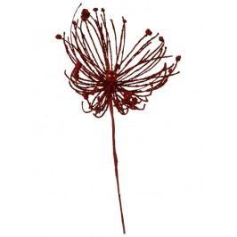 Vánoční plastová větev - barva červená.