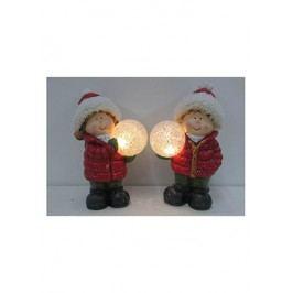 Keramická dekorace s LED světlem, děvčátko nebo chlapec, cena za jeden kus