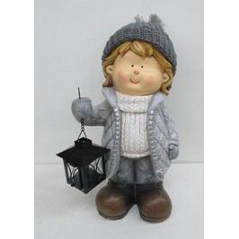 Chlapec,  MgO keramická dekorace s kovovou lucerničkou na čajovu svíčku