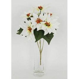 Umělá květina - puget vánočních růží,poinsécek bílých (7 hlav)