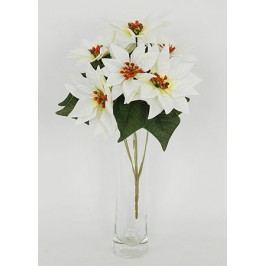 Umělá květina - puget  vánočních růží,poinsécek bílých (7hlav)
