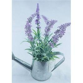 Květina umělá - levadule v kovovém obalu, tvar konvičky