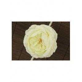 Květ růže na klipu,  umělá květina, krémová glitrovaná