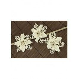 Květina bílá dekorační na klipu. Cena za 3kusy/1 polybag.