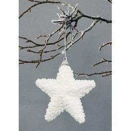 Hvězdička bílá s glitry, dekorační
