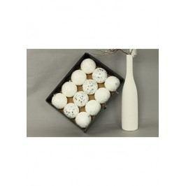 Dekorační koule, bílé s glitry, cena za 12 kusů v krabičce