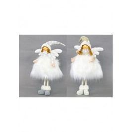 Andělka textilní dekorace s umělým plyšem, mix dvou duhů, cena za jeden kus