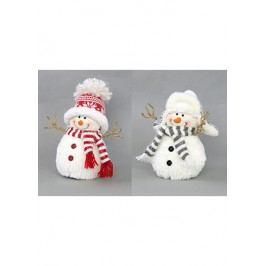 Sněhulák textilní dekorace s umělým plyšem, mix dvou druhů, cena za jeden kus