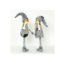 Figurka textilní dekorace s umělým plyšem, mix  chlapec a děvče, cena za jeden kus