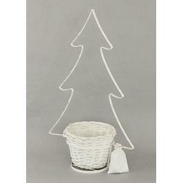 Dekorace kovová s LED světlem ve tvaru stromku a s proutěným obalem.