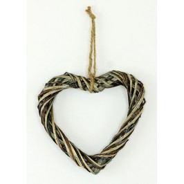 Srdce z proutí,  barva antique šedá