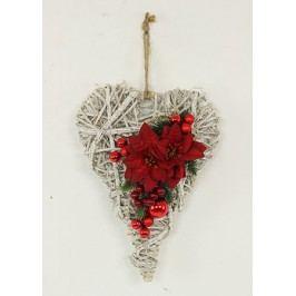Srdce proutěné z ratanu s vánoční červenou dekorací