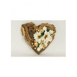 Srdce dřevěné s vánoční dekorací bílo-zlatou v