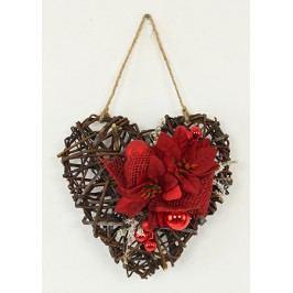 Srdce proutěné s vánoční červenou dekorací