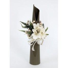 Váza šedá keramická s vánoční dekorací