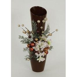 Váza hnědá keramická s vánoční dekorací
