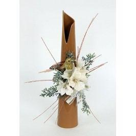 Váza světle hnědá keramická s vánoční dekorací