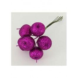 Jablíčko umělé na drátku růžoví ojíněné, cena za 6 kusů