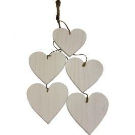 Dekorační srdce bílé 5ks D0215