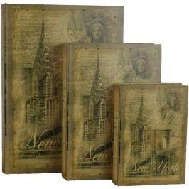 dřevěná kniha 3ks - New York, 355074