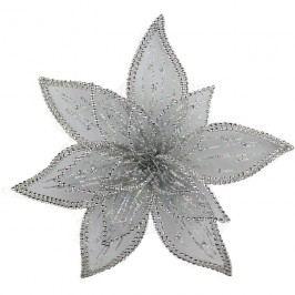 Dekor. květ 30 cm, stříbrný X0232