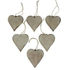 dekorace srdce, sada 6ks D0214