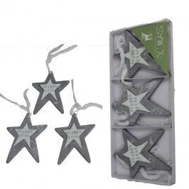dekorační hvězdy na zavěšení sada 3ks, D0068