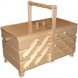 Kazeta na šití, dřevěný košík na šicí potřeby rozkládací velká 0960011