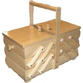 Kazeta na šití, dřevěný košík na šicí potřeby rozkládací střední 0960008