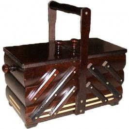Kazeta na šití, dřevěný košík na šicí potřeby rozkládací malý 0960007