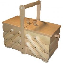 Kazeta na šití, dřevěný košík na šicí potřeby rozkládací malý 0960005