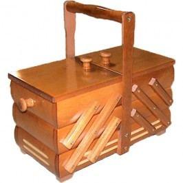 Kazeta na šití, dřevěný košík na šicí potřeby rozkládací malý 0960006