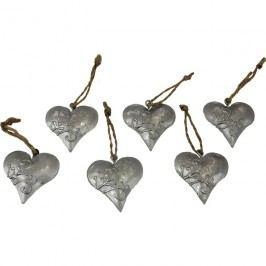 dekorace srdce, sada 6ks K0183