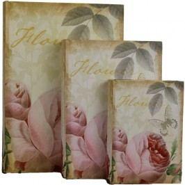 Dřevěná kniha 3ks Růže, 355115