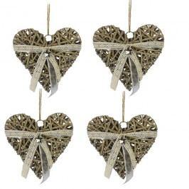 Srdce šedé 10 cm, sada 4 ks P0268