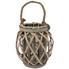 Nádoba na svíci P0408-21 18cm proutěná lucerna šedá
