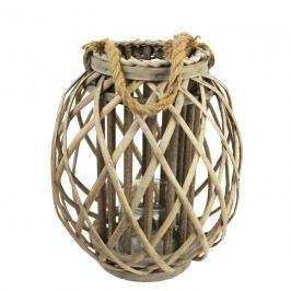 Nádoba na svíci P0409-21 30cm proutěná lucerna šedá