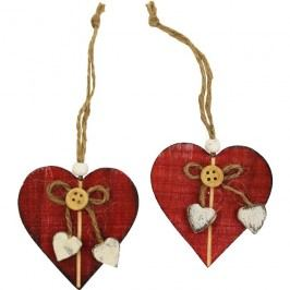 Dekorační srdce červené, 2ks