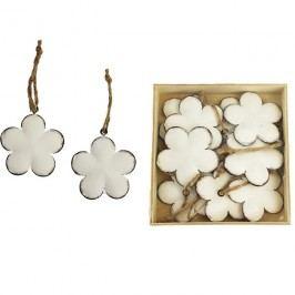Kovové květy bílé, 10 ks