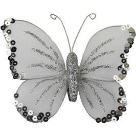 motýl bílé třpytky malý 4ks X0309