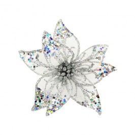 Dekor. květ 15cm, stříbrný